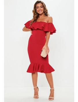 Red Bardot Frill Fishtail Midi Dress by Missguided