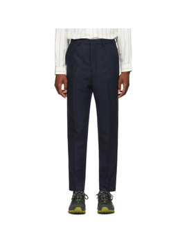 Navy Wool Carrot Trousers by Ami Alexandre Mattiussi