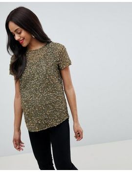 Asos Design Maternity T Shirt With Sequin Embellishment by Asos Design