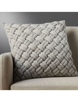 """20"""" Jersey Interknit Grey Pillow With Down Alternative Insert by Crate&Barrel"""