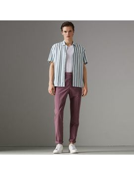 Short Sleeved Striped Cotton Shirt by Burberry