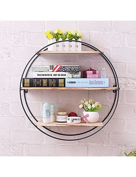 Kingso Rustic Wood Wall Floating Shelves,Decorative Wall Shelf Bedroom, Living Room, Bathroom, Kitchen, Office More (Round) by Kingso