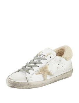 Superstar Leather Platform Low Top Sneakers With Fur by Golden Goose