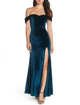 Off The Shoulder Velvet Gown by Sequin Hearts