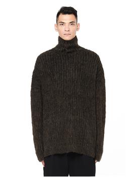 Oversized Khaki Knit Turtleneck Sweater by Yohji Yamamoto