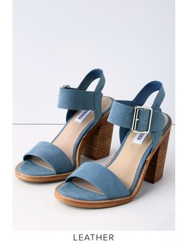 Castro Blue Suede Leather High Heel Sandals by Lulu's