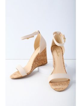 Wylla Nude Cork Wedges by Lulu's