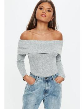 Grey Marl Fold Over Bardot Bodysuit by Missguided