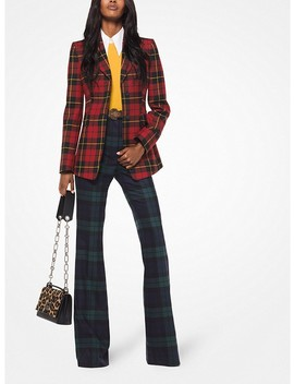 Tartan Flannel Flared Trousers by Michael Kors Collection