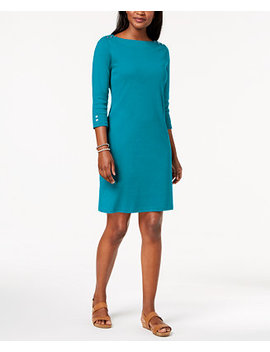 Cotton Button Shoulder Boatneck Dress, Created For Macy's by Karen Scott