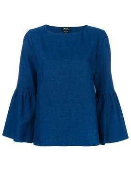 A.P.C.Bell Sleeve Tophome Women A.P.C.Clothing Blousesround Buckles Sandalsconcealed Fastening Shortsbell Sleeve Top by A.P.C.