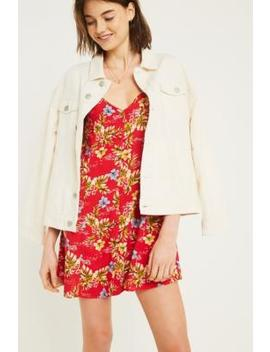 Uo   Robe Demi Rouge à Boutons by Urban Outfitters