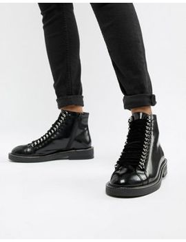 Asos Design Amellie Leather Lace Up Chain Ankle Boots by Asos Design