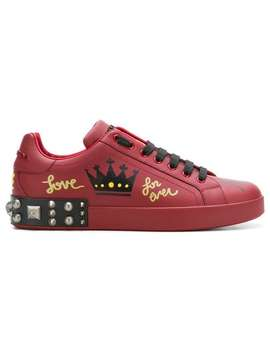 Dolce & Gabbanaprinted Studded Sneakershome Men Dolce & Gabbana Shoes Low Tops by Dolce & Gabbana