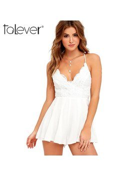 Summer Women Jumpsuit Fashion White And Black V Neck Lace Sling Rompers Female Casual Sexy Backless Ladies Short Rompers Talever by Talever