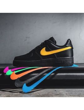 Nike Air Force 1 07 Swoosh Pack Removable Qs Black Uk 6 7 8 9 10 11 12 Us by Ebay Seller