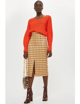 Check Midi Skirt by Topshop