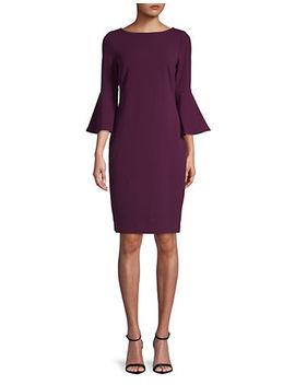 Bell Sleeve Scuba Sheath Dress by Calvin Klein