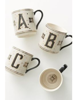 Tiled Margot Monogram Mug by Anthropologie