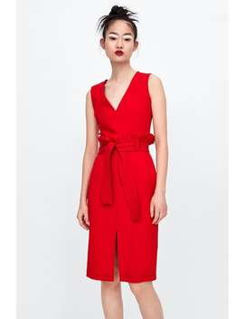 Topstitched Dress With Belt  View All Dresses Woman by Zara