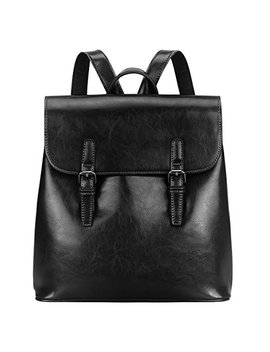 S Zone Women Leather Backpack Retro Chic Preppy Commuter Bag Daypack by S Zone