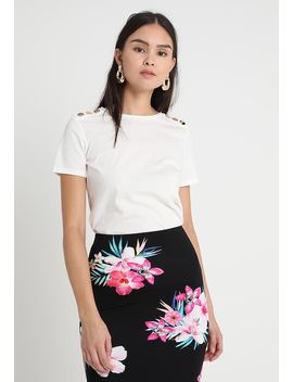 Button Shoulder Tee   T Shirt Print by Dorothy Perkins