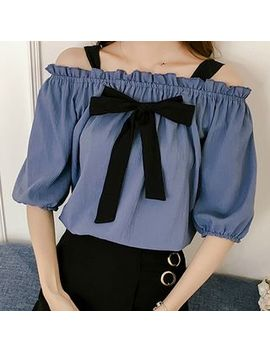 Off Shoulder Bow Accent Elbow Sleeve Top by Vanda
