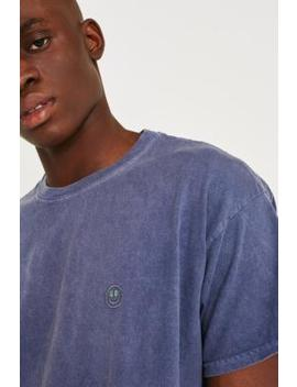 Uo Embroidered Smile Face Blue T Shirt by Urban Outfitters