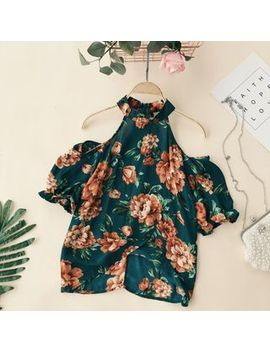Cold Shoulder Flower Print Short Sleeve Top by Lucuna