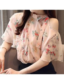Floral Print Cold Shoulder Ruffle Chiffon Blouse by Akari