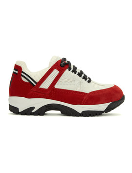 White & Red Security Sneakers by Maison Margiela