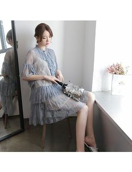 Set: Plain Slipdress + Lace Elbow Sleeve Dress by Aziza