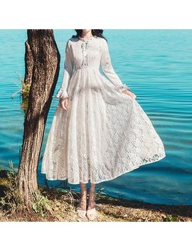 Long Sleeve Lace Midi Dress by Glaypio