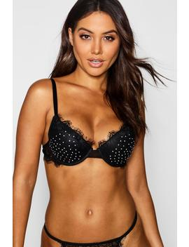 Keira Diamante & Eyelash Lace Push Up Bra by Boohoo