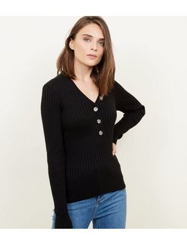 Black Ribbed Button Front Jumper by New Look
