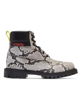 Black & Beige Python Boots by Heron Preston