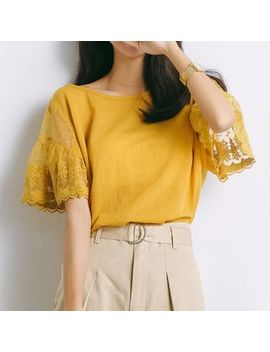Lace Panel Short Sleeve T Shirt by Omila