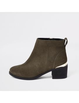 Khaki Green Faux Suede Ankle Boots by River Island