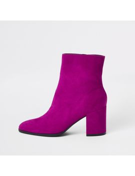 Pink Block Heel Suede Boots by River Island