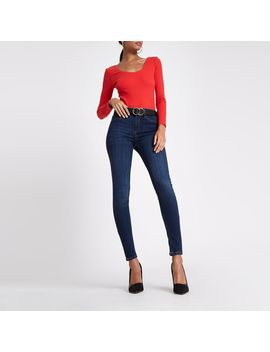 Red Rib Scoop Neck Long Sleeve Bodysuit by River Island