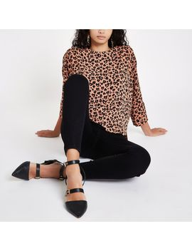 Brown Leopard Print Loose Fit Top by River Island