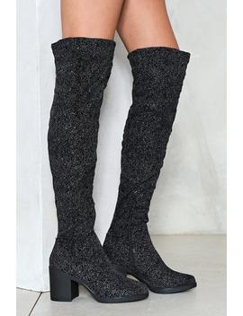 Side Kick Glitter Over The Knee Boot by Nasty Gal