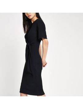 Black Short Sleeve Tie Front Bodycon Dress by River Island
