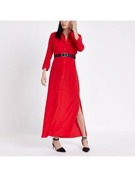 Red Shirt Maxi Dress by River Island
