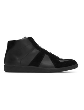 Black Replica Mid Top Sneakers by Maison Margiela