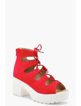 Lace Up Cleated Sandals by Boohoo
