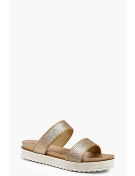 Two Strap Cleated Sliders by Boohoo