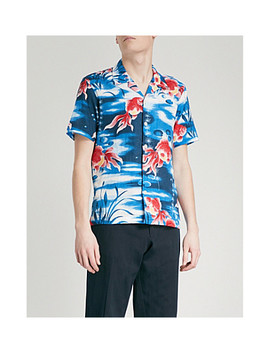 Goldfish Print Regular Fit Cotton Shirt by Sandro