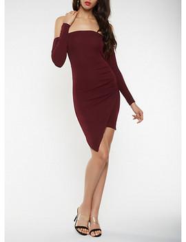 Off The Shoulder Asymmetrical Bodycon Dress by Rainbow