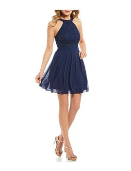 Sequin Lace To Chiffon Fit And Flare Dress by Generic